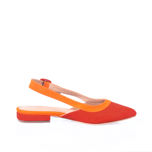 Flats de cuero rojo y naranja. Taco de 2cm