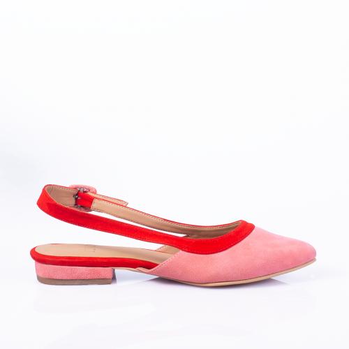 Flats de cuero rosado y rojo. Taco de 2cm
